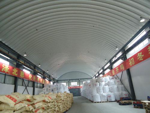 岳阳巴陵石化仓库内景_拱形波纹钢屋盖